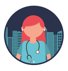 medical female doctor with cityscape vector image