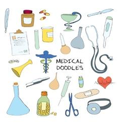 Medical symbols emblems doodle set vector