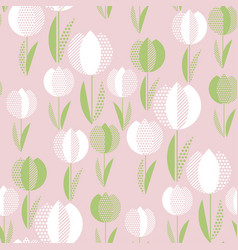 Naive folk rose color flowers seamless pattern vector
