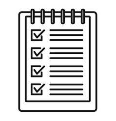 notebook checklist icon outline style vector image