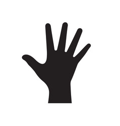 open human hand palm - black icon on white vector image