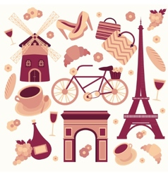 Paris symbols collection vector image