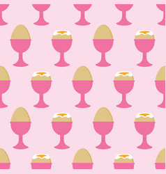 Pattern with boiled eggs in egg cups vector