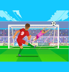 penalty soccer players defending the gates vector image
