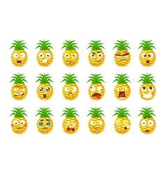 Pineapple cartoon emoji portaraits fith different vector