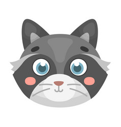 Raccoon muzzle icon in cartoon style isolated on vector