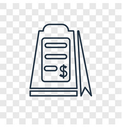 receipt concept linear icon isolated on vector image