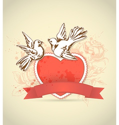Red heart and dove vector
