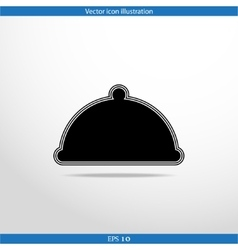 Restaurant cloche web flat icon vector