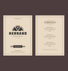 restaurant logo and menu design brochure vector image