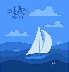 Sailboat and seagulls hello sea vector