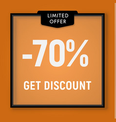 Sale 70 percent off get discount website button vector