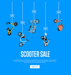 Scooter sale advertising with city motorbikes vector