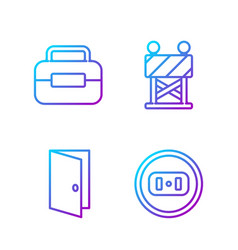 Set line electrical outlet closed door toolbox vector