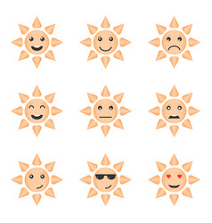 set of emotion icons of the cartoon sun isolated vector image