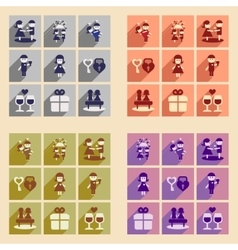 Set of flat web icons with long shadow Valentine vector