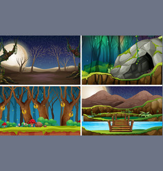 set of nature landscape at night vector image