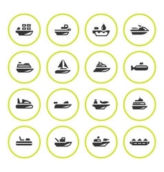 Set round icons of water transport vector