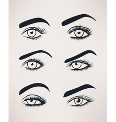 Silhouette of female eyes open different shapes vector image