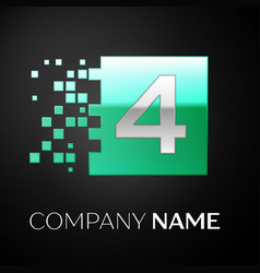 silver number four logo symbol in the green square vector image