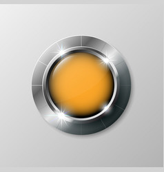 Silver shiny modern element orange button for vector