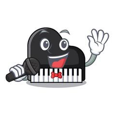 singing piano mascot cartoon style vector image
