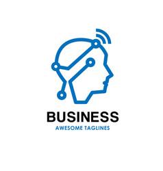 Smart human head logo vector