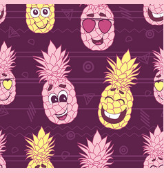 smiling pineapple faces seamless repeat pattern vector image