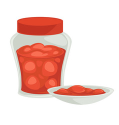 strawberry jam in jar and bowl organic homemade vector image