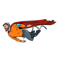 Superhero fashion invalid with artificial legs vector