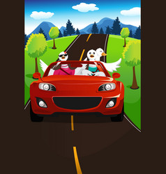 Swans going on a road trip vector