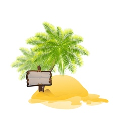 Tropical island with wooden pointing signboard vector