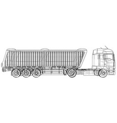 truck with trailer isolated on white vector image