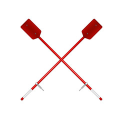 Two crossed old oars in red design vector