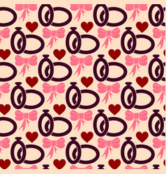 valentines day seamless pattern with wedding rings vector image