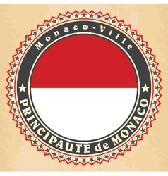 Vintage label cards of Monaco flag vector