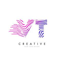 vt v t zebra lines letter logo design with vector image