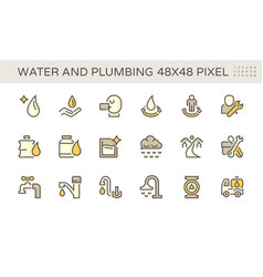 water drinking and plumbing icon set design vector image