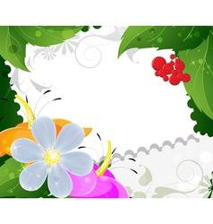 Wild flowers and ripe berries vector