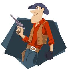wild west world cowboy with gun for internet vector image