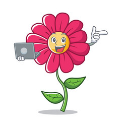 With laptop pink flower character cartoon vector