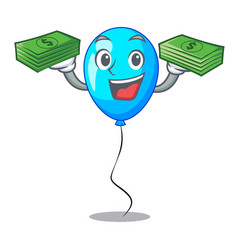With money party balloon blue mascot the isolated vector