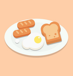 breakfast with eggsbread and sausages on plate vector image vector image