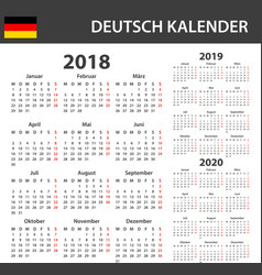 german calendar for 2018 2019 and 2020 scheduler vector image