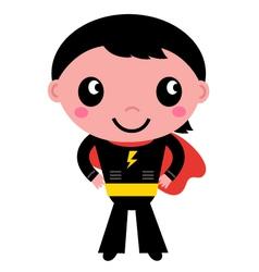 Little cute superhero boy isolated on white vector image