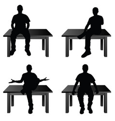 man siting on table in various poses vector image vector image