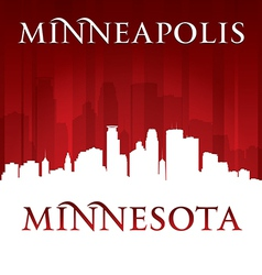 Minneapolis Minnesota city skyline silhouette vector image