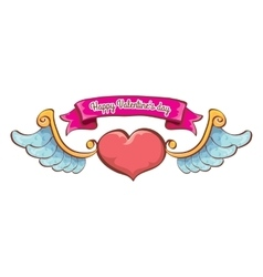 valentines day pink heart with angel wings vector image vector image