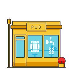 pub building flat line concept vector image vector image