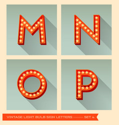 Vintage light bulb sign letters m n o p vector image